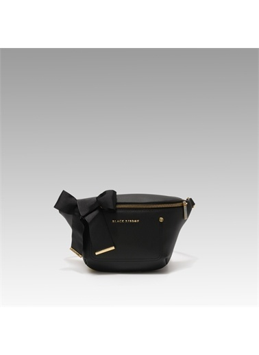 Black Ribbon Fermuarlı Bel Çantası Siyah